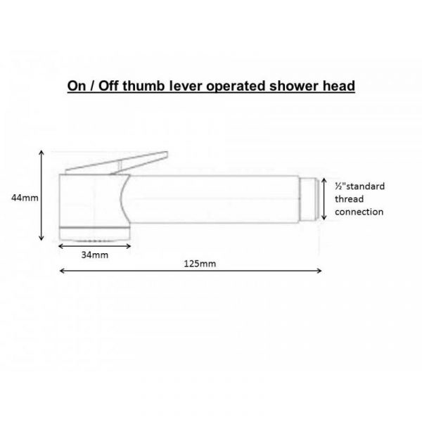hair wash thumb lever shower head dimensions