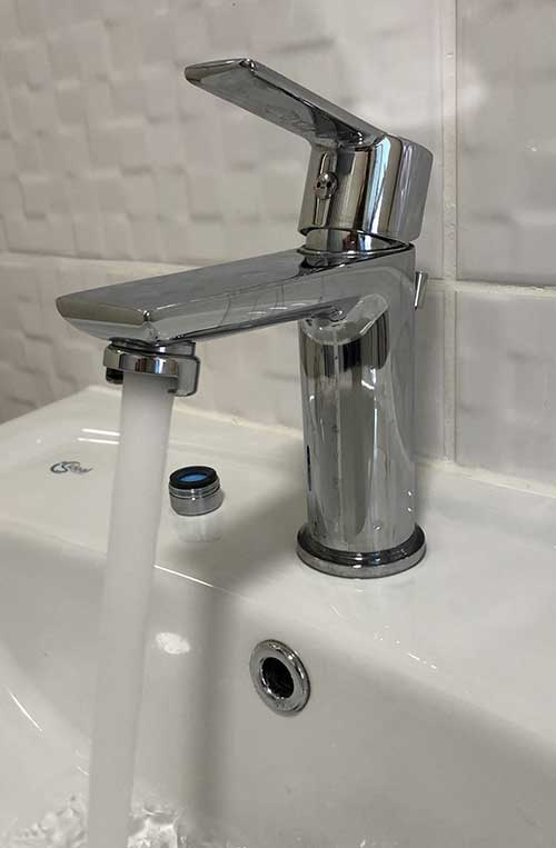 bathroom sink mixer tap in chromed brass